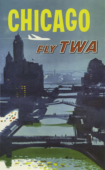 TWA Trans World Airlines Chicago 1960 | Vintage Travel Posters 1891-1970