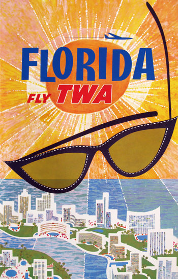 TWA Trans World Airlines Florida 1965 | Vintage Travel Posters 1891-1970