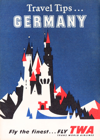 TWA Trans World Airlines Germany 1956 Castle | Vintage Travel Posters 1891-1970