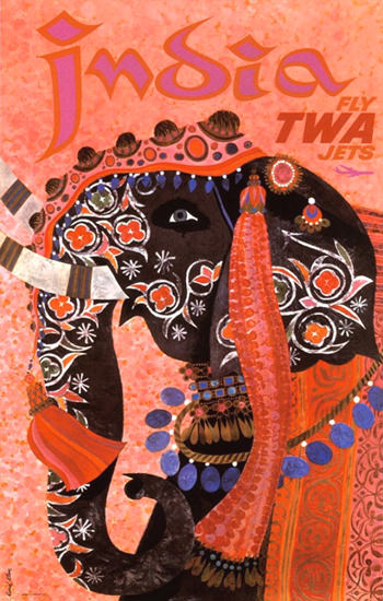 TWA Trans World Airlines India 1960s Elephant | Vintage Travel Posters 1891-1970
