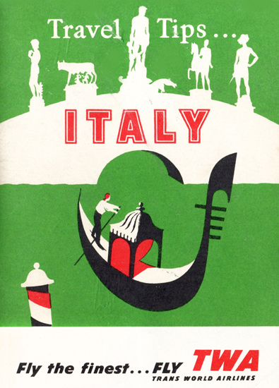 TWA Trans World Airlines Italy 1956 Venice | Vintage Travel Posters 1891-1970
