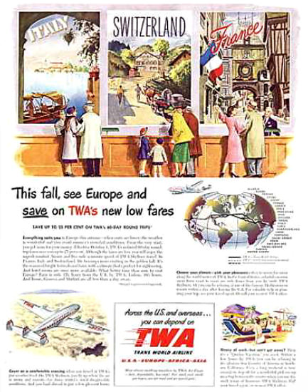 TWA Trans World Airlines Italy Switzerland 1942   Vintage Travel Posters 1891-1970