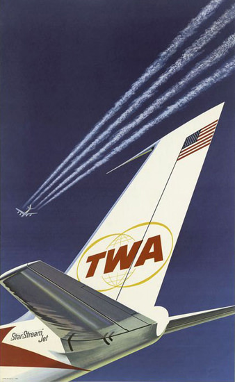TWA Trans World Airlines Jet Tail Fin 1962 | Vintage Travel Posters 1891-1970