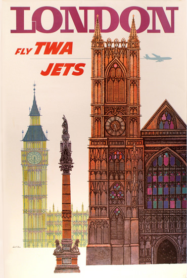 TWA Trans World Airlines London 1960 | Vintage Travel Posters 1891-1970