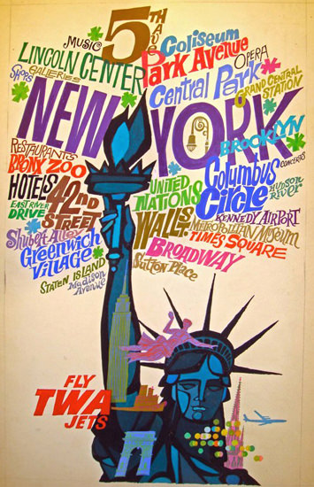 TWA Trans World Airlines New York 1960s D Klein | Vintage Travel Posters 1891-1970