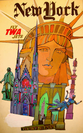 TWA Trans World Airlines New York Jets 1968 | Vintage Travel Posters 1891-1970
