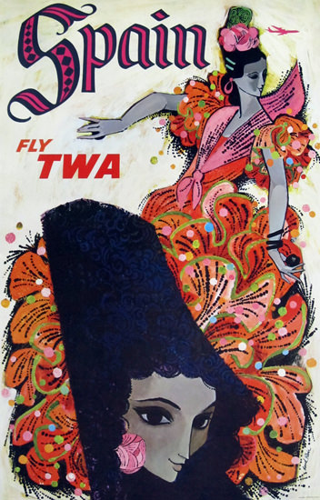 TWA Trans World Airlines Spain 1960s Flamenco | Vintage Travel Posters 1891-1970
