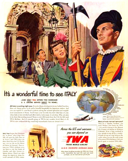 TWA Trans World Airlines Swiss Guard Italy 1949 | Vintage Travel Posters 1891-1970