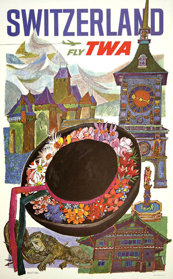 TWA Trans World Airlines Switzerland 1960s Klein | Vintage Travel Posters 1891-1970
