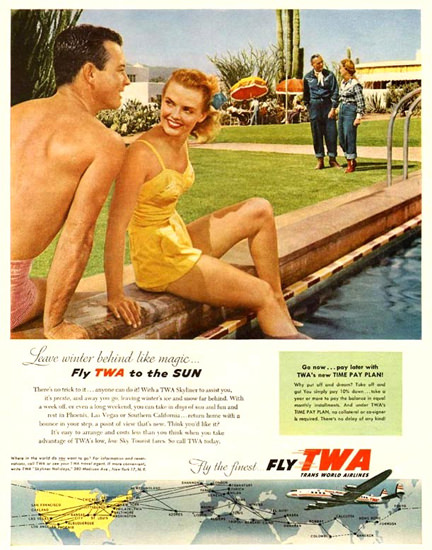 TWA Trans World Airlines The Sun 1954 | Sex Appeal Vintage Ads and Covers 1891-1970