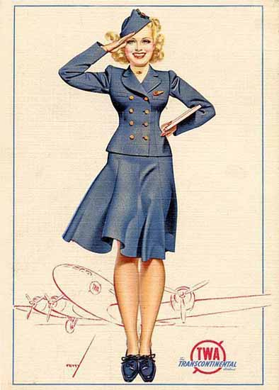 TWA Transcontinental Hostess George Petty Sex Appeal | Sex Appeal Vintage Ads and Covers 1891-1970