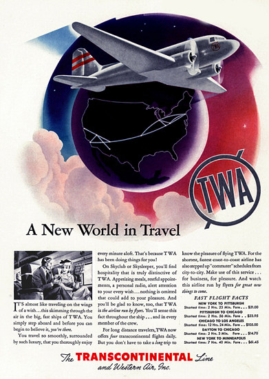 TWA Transcontinental World In Travel 1940 | Vintage Travel Posters 1891-1970