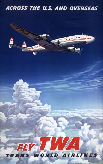 TWA US Overseas Super Constellation 1952   Vintage Travel Posters 1891-1970