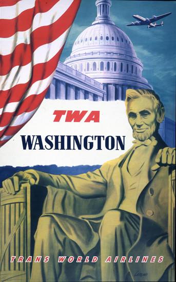 TWA Washington Super Constellation 1951 | Vintage Travel Posters 1891-1970