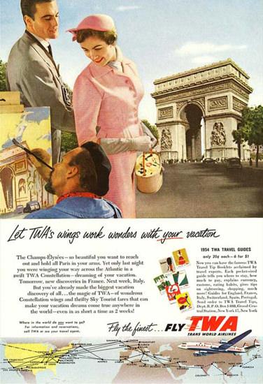 TWA Wings Work Wonders Vacation 1950s | Vintage Travel Posters 1891-1970