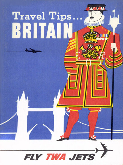 TWA World Airlines Britain 1956 Tower Bridge | Vintage Travel Posters 1891-1970