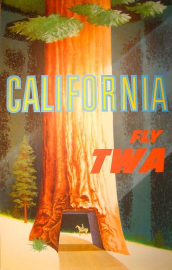 TWA World Airlines California 1960s Sequoia | Vintage Travel Posters 1891-1970