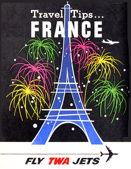 TWA World Airlines France 1956 Eiffel Tower | Vintage Travel Posters 1891-1970