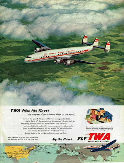 TWA World Airlines Super Constellation 1954 | Vintage Travel Posters 1891-1970