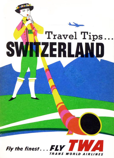 TWA World Airlines Switzerland 1956 Alphorn | Vintage Travel Posters 1891-1970