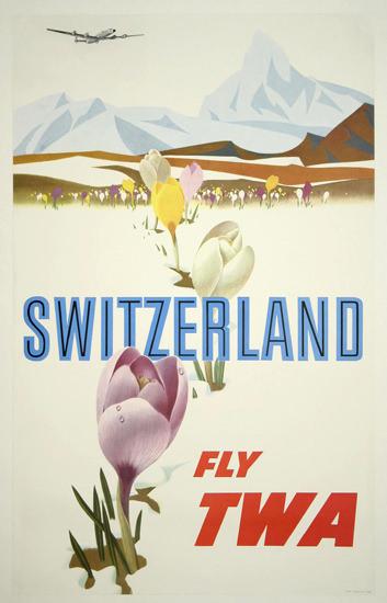 TWA World Airlines Switzerland 1960s Matterhorn | Vintage Travel Posters 1891-1970