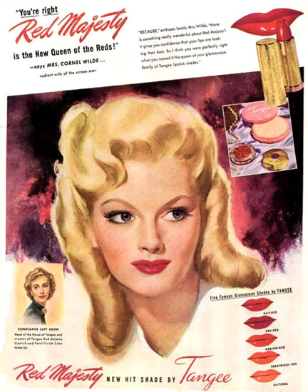Tangee Red Majesty Lipstick Mrs Cornel Wilde | Sex Appeal Vintage Ads and Covers 1891-1970