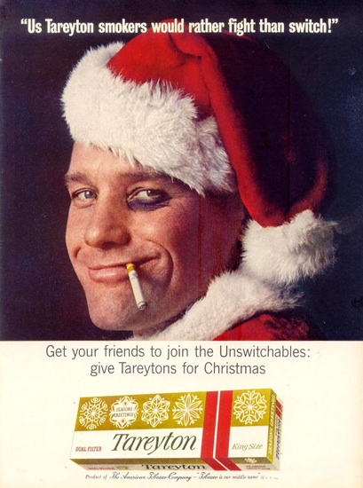 Tareyton Cigarettes Santa Fight Christmas 1963 | Sex Appeal Vintage Ads and Covers 1891-1970