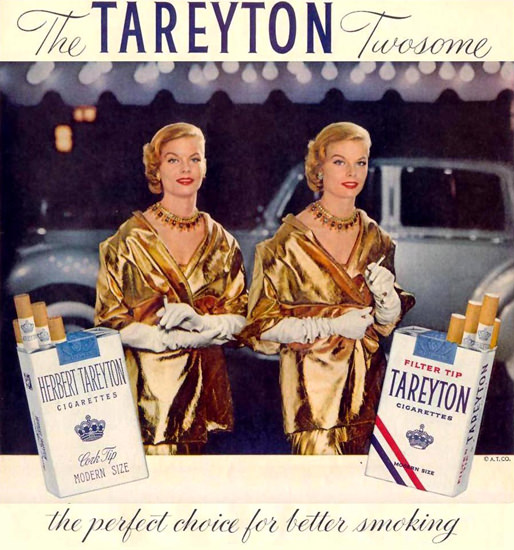Tareyton Cigarettes Twosome Twins 1955 | Sex Appeal Vintage Ads and Covers 1891-1970