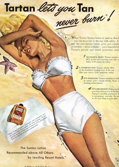 Tartan Beach Girl Lets You Tan Never Burn 1947 | Sex Appeal Vintage Ads and Covers 1891-1970