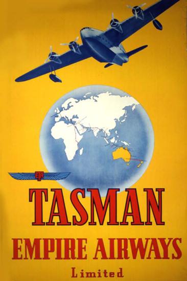 Tasman Empire Airways Limited 1940s Yellow | Vintage Travel Posters 1891-1970