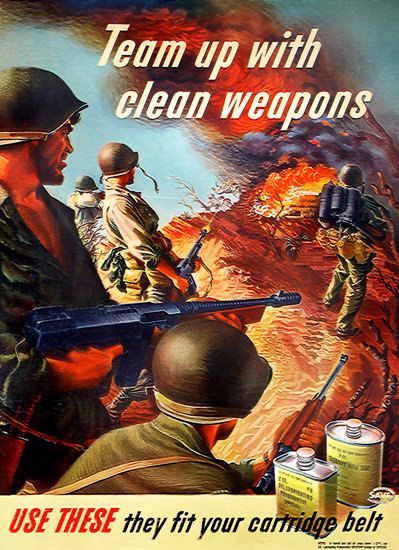 Team Up With Clean Weapons Fit In Your Belt | Vintage War Propaganda Posters 1891-1970
