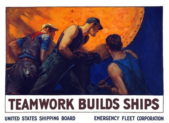 Teamwork Buils Ship US Shipping Board | Vintage War Propaganda Posters 1891-1970