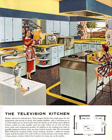 The Television Kitchen 1953 | Vintage Ad and Cover Art 1891-1970