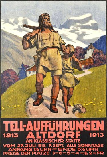 Tell-Aufführungen Altdorf  Switzerland 1913 | Vintage Ad and Cover Art 1891-1970