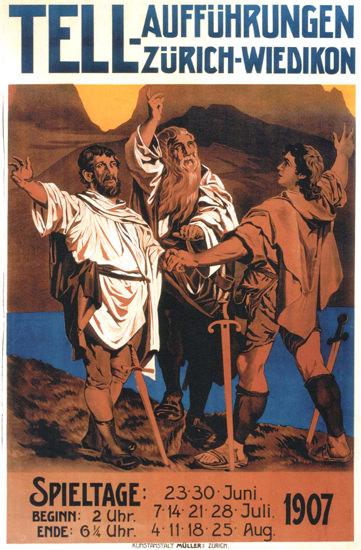Tell Auffuehrungen Zuerich-Wiedikon 1907 | Vintage Ad and Cover Art 1891-1970