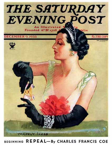 Tempest Inman Saturday Evening Post At the Opera 1933_12_09 | The Saturday Evening Post Graphic Art Covers 1931-1969