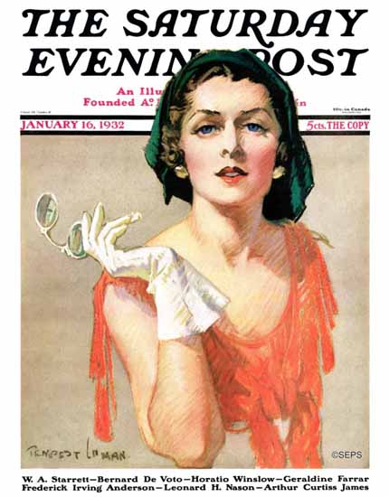 Tempest Inman Saturday Evening Post Woman and Pince Nez 1932_01_16 | The Saturday Evening Post Graphic Art Covers 1931-1969