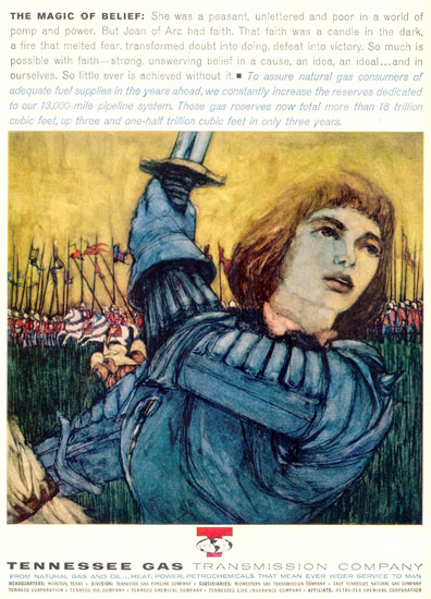 Tennessee Gas Joan Of Arc  Belief 1962   Vintage Ad and Cover Art 1891-1970