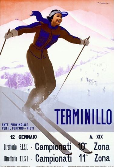 Terminillo Italia Woman Skiing Italy G Riccobaldi | Vintage Travel Posters 1891-1970