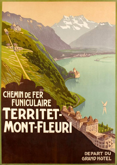 Territet Mont-Fleuri Chemin Fer Funiculaire 1905 | Vintage Travel Posters 1891-1970