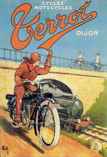 Terrot Cie Dijon Cycles Motorcycles Train | Vintage Travel Posters 1891-1970