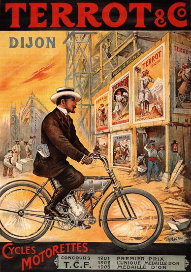 Terrot Cie Dijon Cycles Motorettes 1909 | Vintage Travel Posters 1891-1970