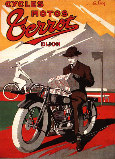 Terrot Cie Dijon Cycles Motos Dijon 1925 G Favre | Vintage Travel Posters 1891-1970