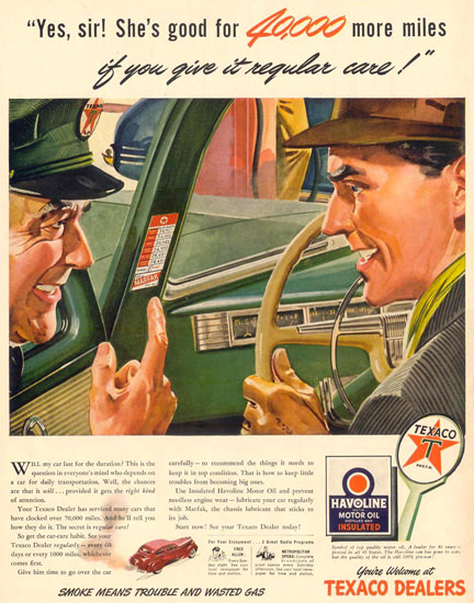 Texaco 40000 Miles More 1944 | Vintage Ad and Cover Art 1891-1970