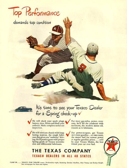 Texaco Baseball Top Performance 1948 | Sex Appeal Vintage Ads and Covers 1891-1970