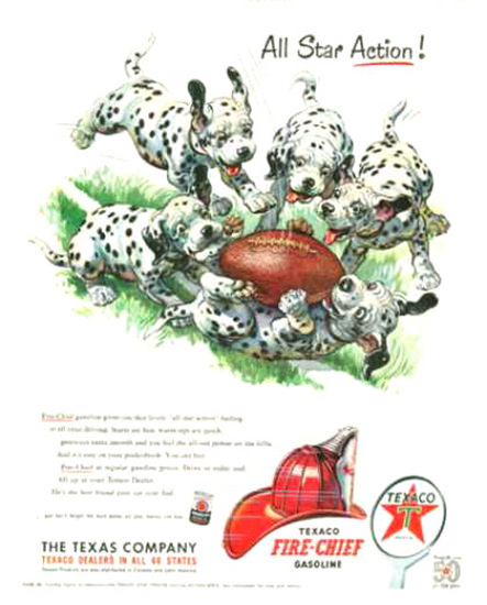 Texaco Fire-Chief 1952 Dalmatian Puppies | Vintage Ad and Cover Art 1891-1970