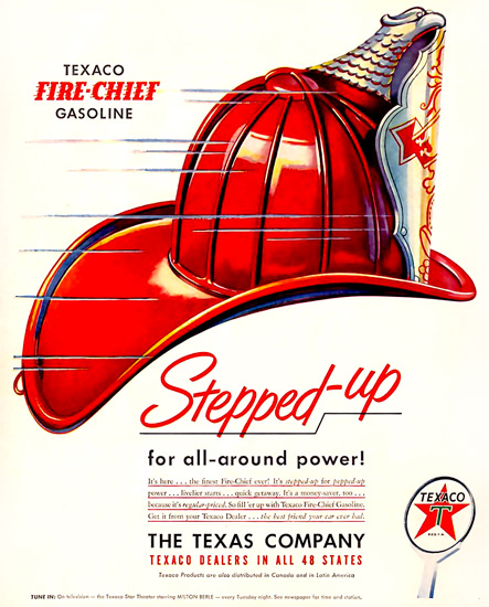 Texaco Fire-Chief Firefighter Helmet 1950 | Vintage Ad and Cover Art 1891-1970