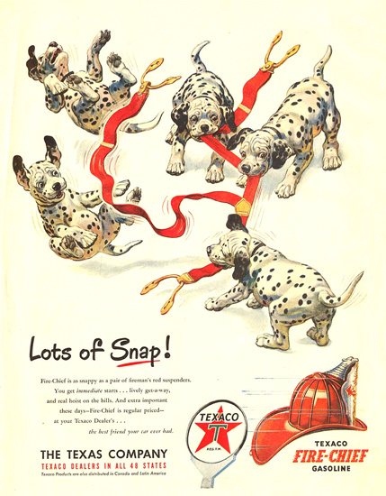 Texaco Fire-Chief Lots Of Snap 1950s Puppies | Vintage Ad and Cover Art 1891-1970
