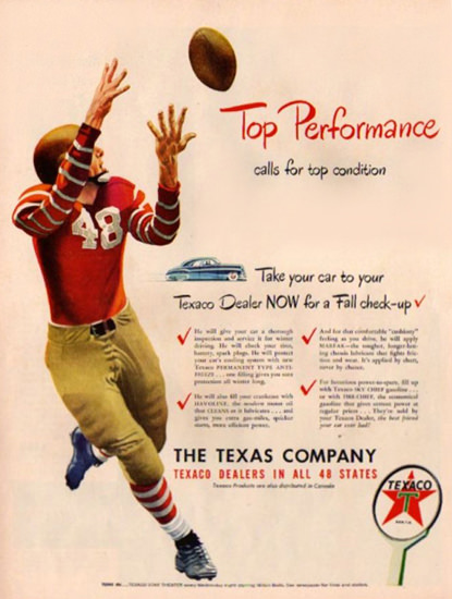 Texaco Football Top Performance 1948 | Sex Appeal Vintage Ads and Covers 1891-1970