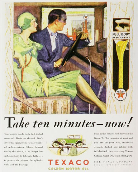 Texaco Golden Motor Oil Take Ten Minutes 1920s | Sex Appeal Vintage Ads and Covers 1891-1970